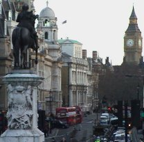 The centre of London. The statue of Charles  and Whitehall